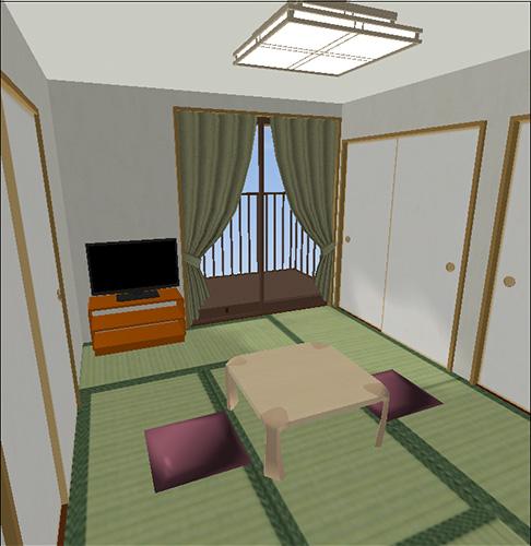 座卓・テレビのある6畳の部屋