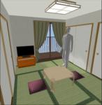 人物モデルのいる6畳の部屋
