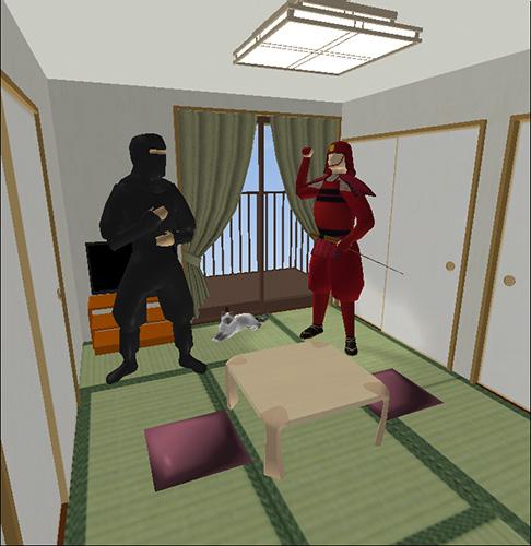 2人の人物モデルのいる6畳の部屋