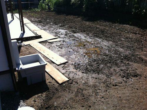 粘土質の庭の土