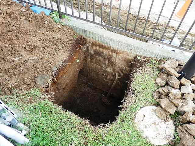 排水升を設置するための穴