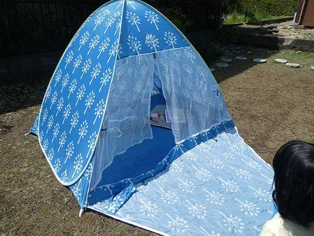 庭にテントを張ってみた