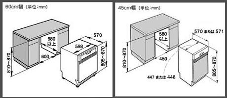 ミーレ食洗機の設置寸法