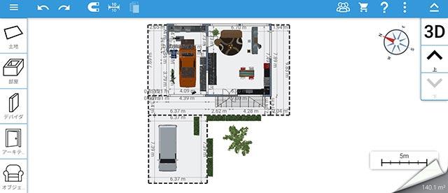 Home Design 3Dの間取り画面